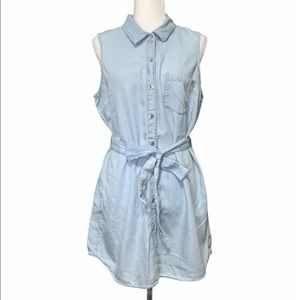 Guess Sleeveless Chambray Button Down Belted Dress